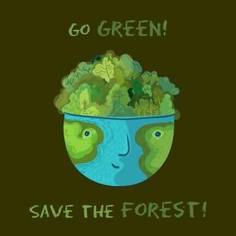 Geh grün, rette die wälder! vektor niedliche ökologische illustration.