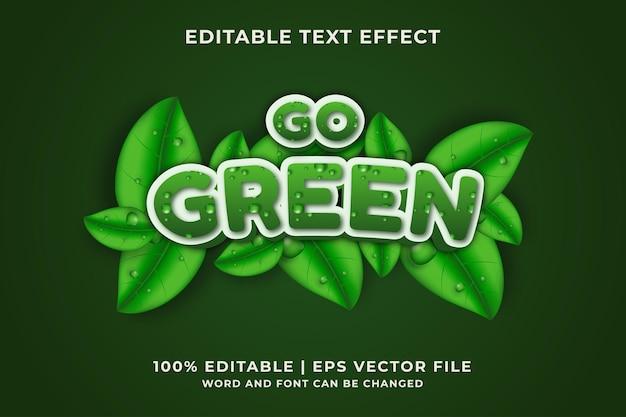 Geh grüner bearbeitbarer texteffekt premium-vektor