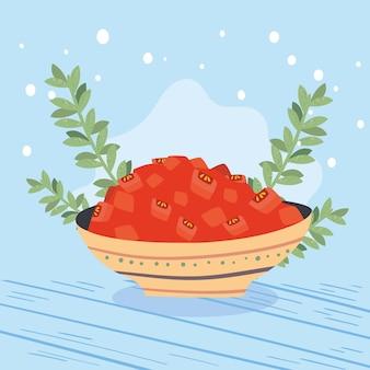 Gehackte tomaten und blätter