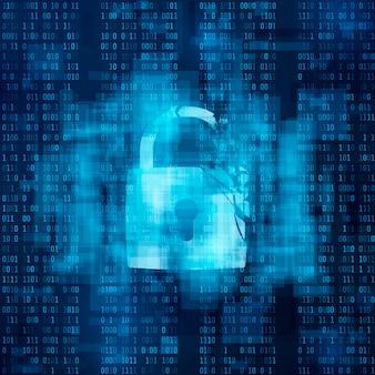 Gehacktes firewall-konzept. defektes sicherheitssystem, cybercrime. gebrochene sperre auf matrixhintergrund