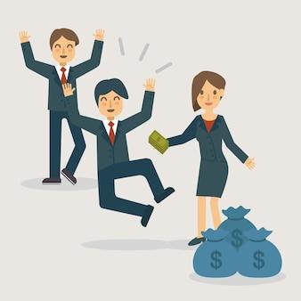 Gehalt und bonus am zahltag Premium Vektoren