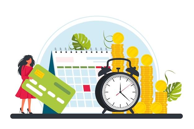 Gehaltsscheck, gehalt, gehaltsabrechnungskonzept. eine kleine frau steht mit einer kreditkarte in den händen in der nähe eines haufens von goldmünzen, wecker oder uhr, kalender. zeit ist ein geld- und planungskonzept. vektor-illustration