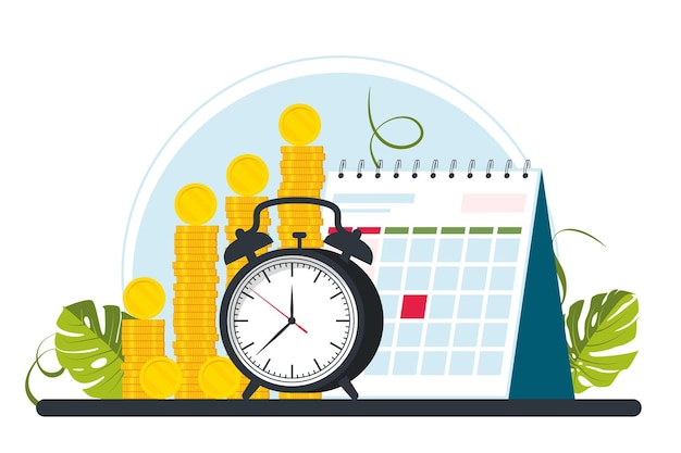 Gehaltsscheck, gehalt, gehaltsabrechnungskonzept. haufen goldmünzen, wecker oder uhr, kalender. zeit ist ein geld- und planungskonzept. vektor-illustration
