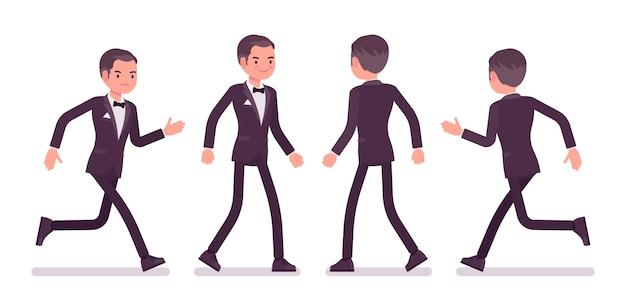 Geheimagent mann, gentleman spion des geheimdienstes, beobachter, um daten aufzudecken, politische, geschäftliche informationen, unternehmensspionage, gehen, laufen zu sammeln. stil cartoon illustration
