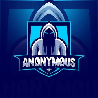 Geheime anonyme maskottchen-logo-esport-vorlagen