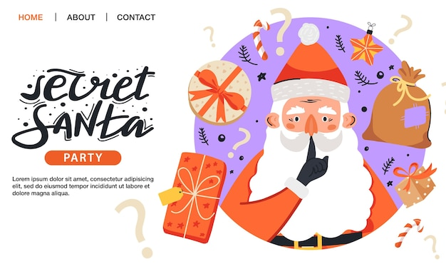 Geheime weihnachtsmann-einladungsschablone.