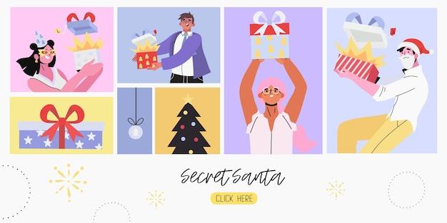 Geheime weihnachtsmann- und weihnachts- oder neujahrsfahne.