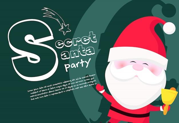Geheime weihnachtspartyfahne mit niedlicher weihnachtsmann-klingelglocke