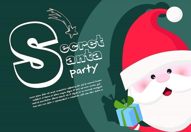 Geheimer santa-party-bannerentwurf mit fröhlichem santa claus