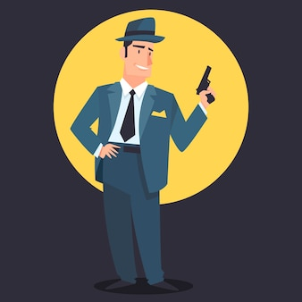Geheimnisvoller gangstercharakter mit waffe