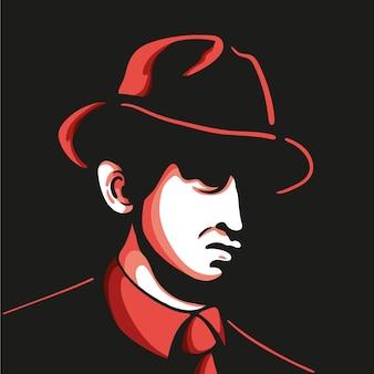 Geheimnisvoller mafia-charakter mit hut