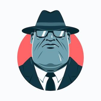 Geheimnisvoller mafia-mann, der einen hut trägt