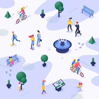 Gehen der städtischen leute des stadtpark-vektors im freien in stadtillustrationrop-tapete schlendern