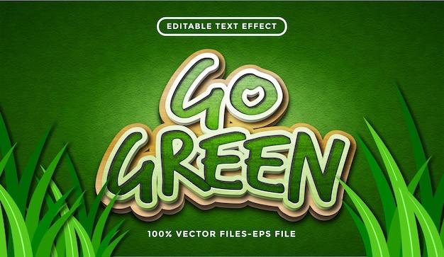Gehen grüner texteffekt, bearbeitbarer karikatur- und waldtextstil premium-vektor