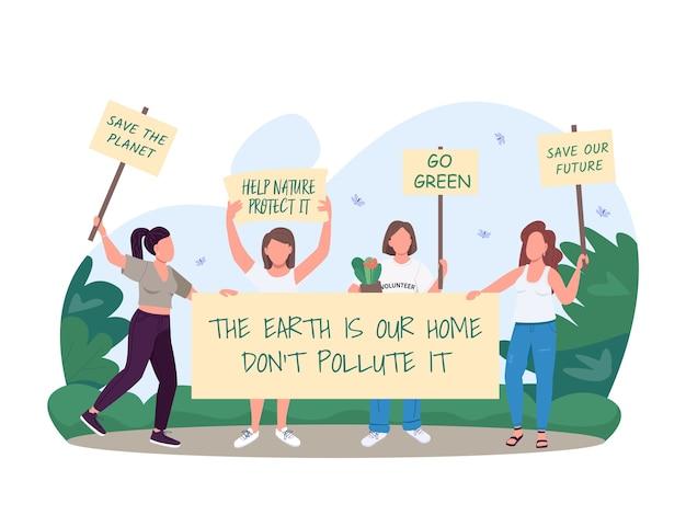 Gehen sie grün 2d-web-banner, poster. progressive bewegung der ökologie retten. frauenrolle in den flachen charakteren der gesellschaft auf karikaturhintergrund. pfadfinderinnen schützen die natur. ökofeminismus-szene