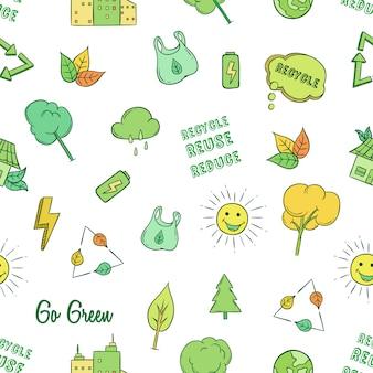 Gehen sie grün oder ökologie symbole in nahtlose muster mit farbigen doodle-stil