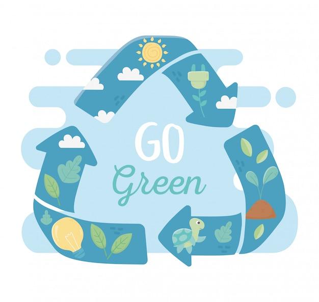 Gehen sie grün recyceln energie fauna flora umwelt ökologie