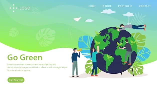 Gehen sie grün, websitevektorillustration