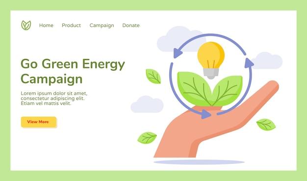 Gehen sie grüne energie hand halten blattbirne lampe kampagne