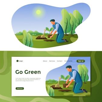 Gehen sie grüne illustration landing page