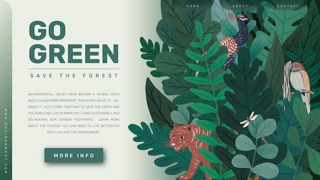 Gehen sie grüne vorlage, speichern sie das waldblog-banner