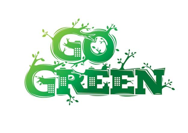 Gehen sie grünes logo mit stadtgebäudeillustration