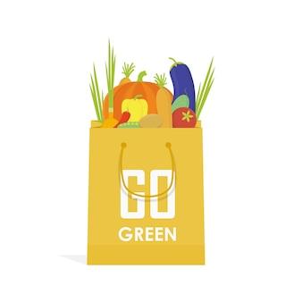 Gehen sie öko-lebensmittelbeutel-vektorillustration des grünen papiers.