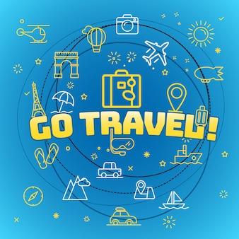 Gehen sie reisekonzept. verschiedene dünne linie symbole enthalten