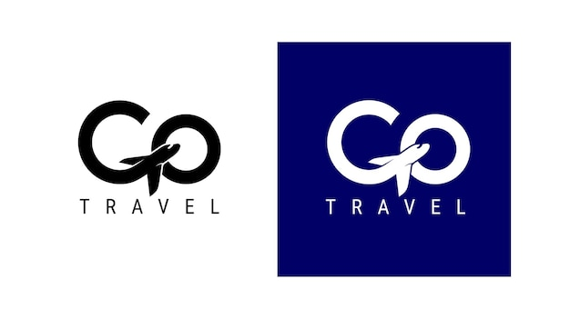 Gehen sie reiselogo. design-schriftzug g flugreisen. vektor einfaches schwarz-weiß-konzept. trendiges logo für branding, kalender, karte, banner, cover. isoliert auf weißem, blauem hintergrund.