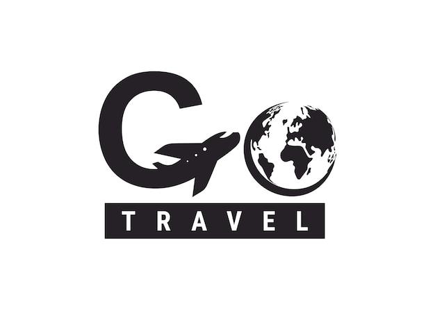 Gehen sie reiselogo. design-schriftzug g flugreisen. vektor einfaches schwarz-weiß-konzept. trendiges logo für branding, web, soziales netzwerk, kalender, karte, banner, cover. isoliert auf weißem hintergrund.