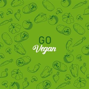 Gehen sie vegane beschriftung mit gemüsemuster im grünen hintergrund