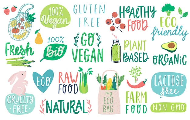 Gehen sie vegane schriftzüge gemüse eco organic natural und andere elemente