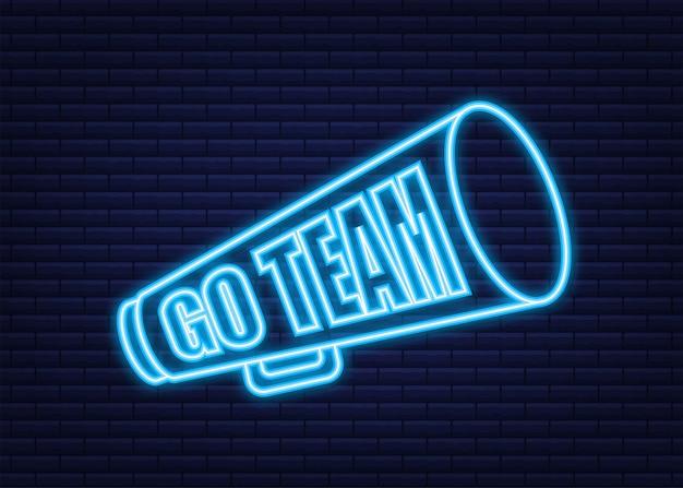 Gehen sie zum team-dreieck-banner. gehen sie team im cartoon-stil. neon-symbol. vektorgrafik auf lager.