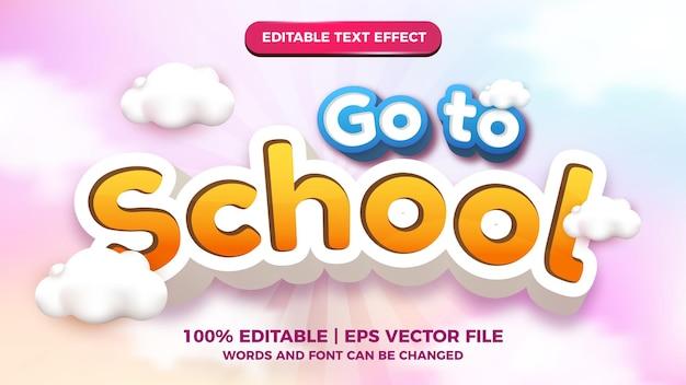 Gehen sie zur schule editierbaren texteffekt-comic-cartoon-stil mit buntem 3d-wolkenhimmelhintergrund