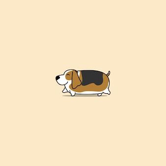 Gehende karikaturikone des fetten bassetjagdhundes