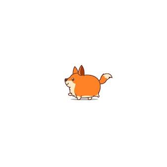 Gehende karikaturikone des fetten fuchses, vektorillustration