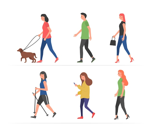 Gehende menschen. verschiedene charaktere im freien körperliche aktivität. menschen auf der straße in verschiedenen aktivitätssituationen - hund laufen, laufen, entspannen. menschen, die mit smartphones spazieren.