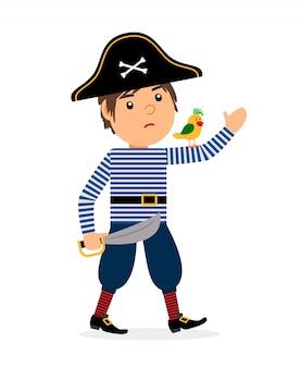 Gehende zeichentrickfilm-figur des piraten mit papagei und klinge. vektorikone auf weißem hintergrund