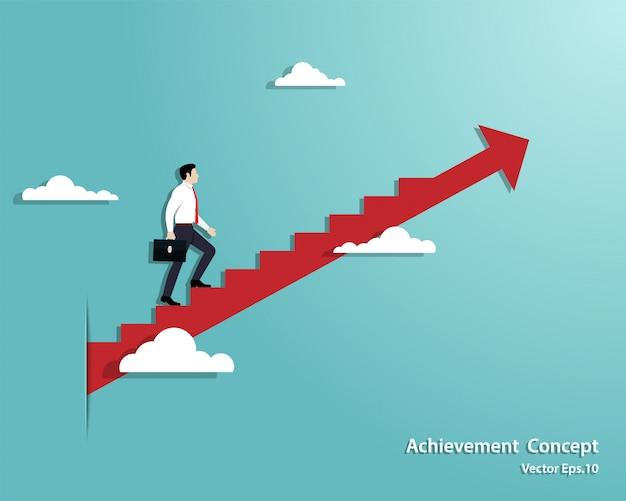 Gehender geschäftsmann die treppe bis zu erfolgreichem
