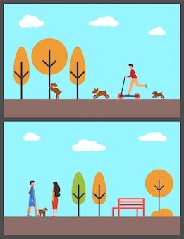 Gehender hund der leute in autumn park, mann auf roller