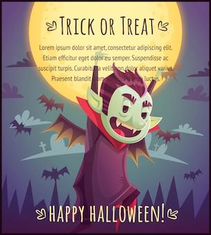Gehender karikaturvampir mit fliegenden fledermäusen hinter auf vollmondhimmelhintergrund happy halloween-poster süßes oder saures grußkartenillustration
