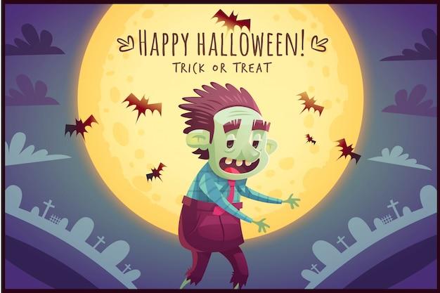 Gehender karikaturzombie auf vollmondhimmelhintergrund happy halloween-poster süßes oder saures grußkartenillustration