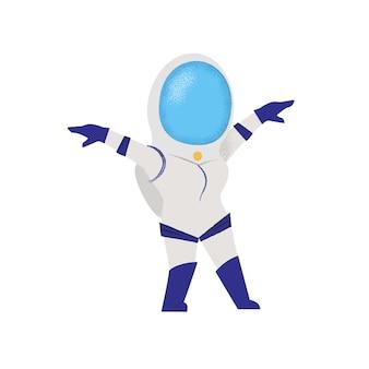Gehender weiblicher astronaut. schwerkraft, forscher, mission