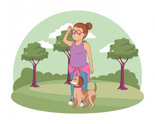 Gehendes jugendlichmädchen die hundekarikatur