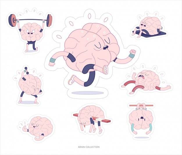 Gehirn aufkleber fitness druckbare set