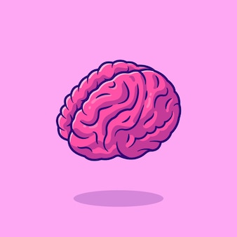 Gehirn cartoon icon illustration. bildungsobjekt-symbol-konzept.