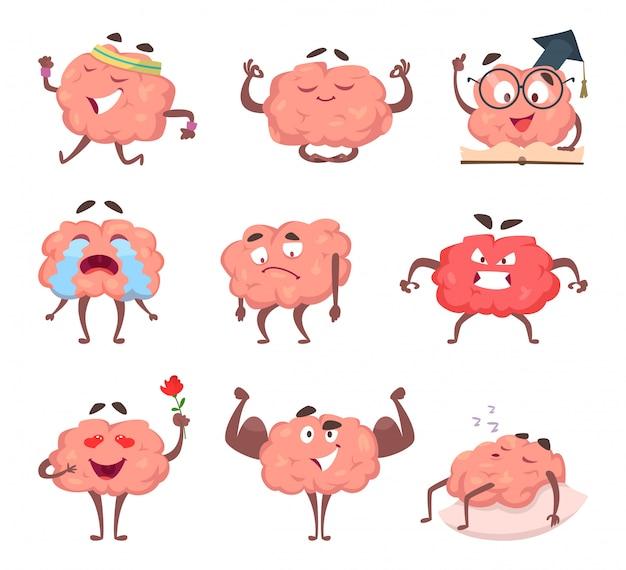 Gehirn-cartoon-maskottchen-set