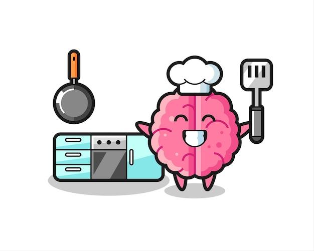 Gehirn-charakter-illustration als koch kocht, niedliches design für t-shirt, aufkleber, logo-element
