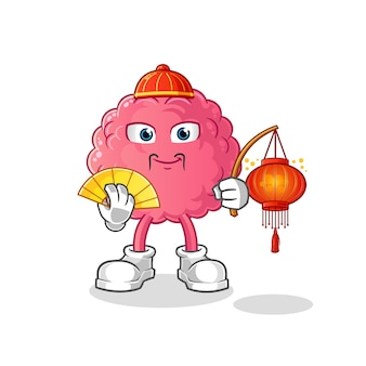 Gehirn-chinesisch mit laternenillustration. charakter