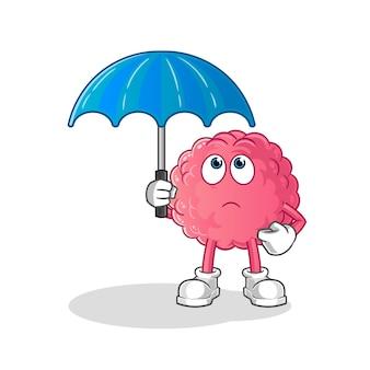 Gehirn, das eine regenschirmillustration hält. charakter